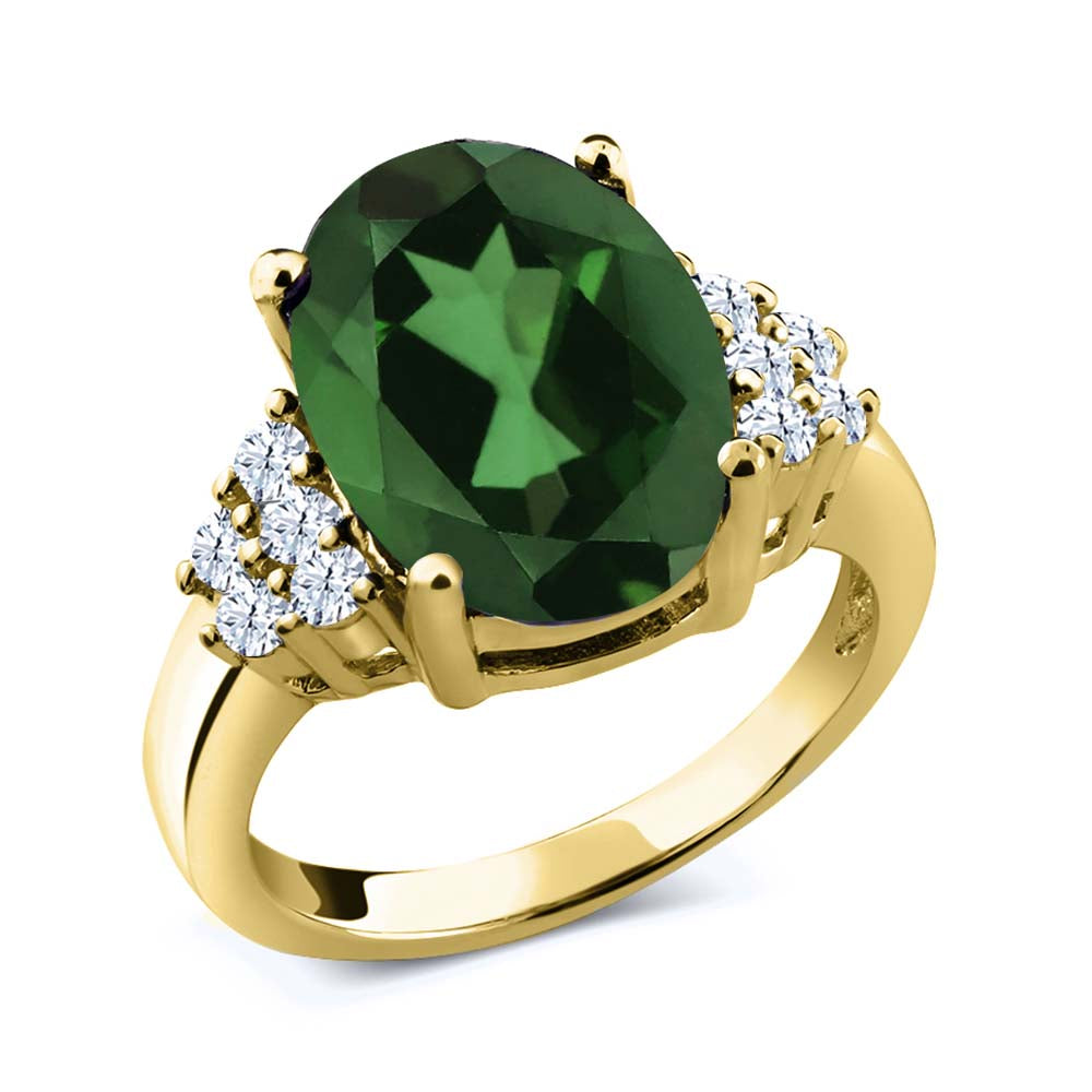 Gem Stone King 5.80 Ct Oval Envy Green Mystic Quartz 18K Yellow Gold Plated Silver Ring