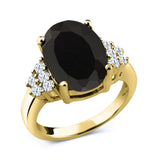 Gem Stone King 5.30 Ct Oval Black Onyx 18K Yellow Gold Plated Silver Ring