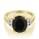 5.30 Ct Oval Black Onyx 18K Yellow Gold Plated Silver Ring