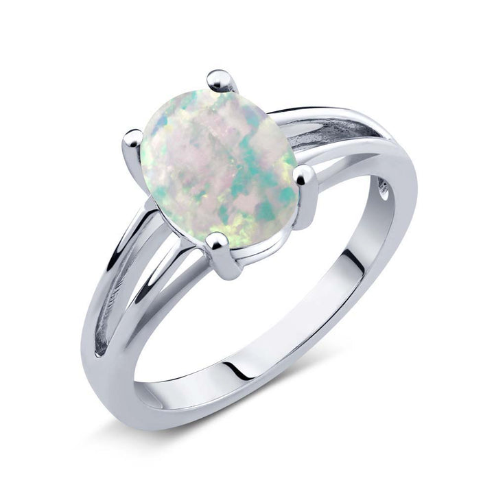 Gem Stone King 0.60 Ct Oval Cabochon White Simulated Opal 925 Sterling Silver Solitaire Ring