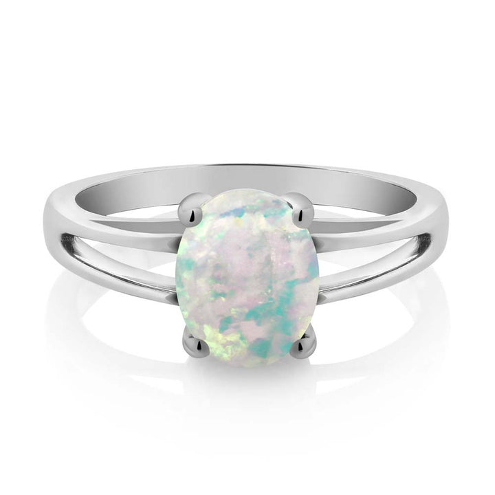 0.60 Ct Oval Cabochon White Simulated Opal 925 Sterling Silver Solitaire Ring