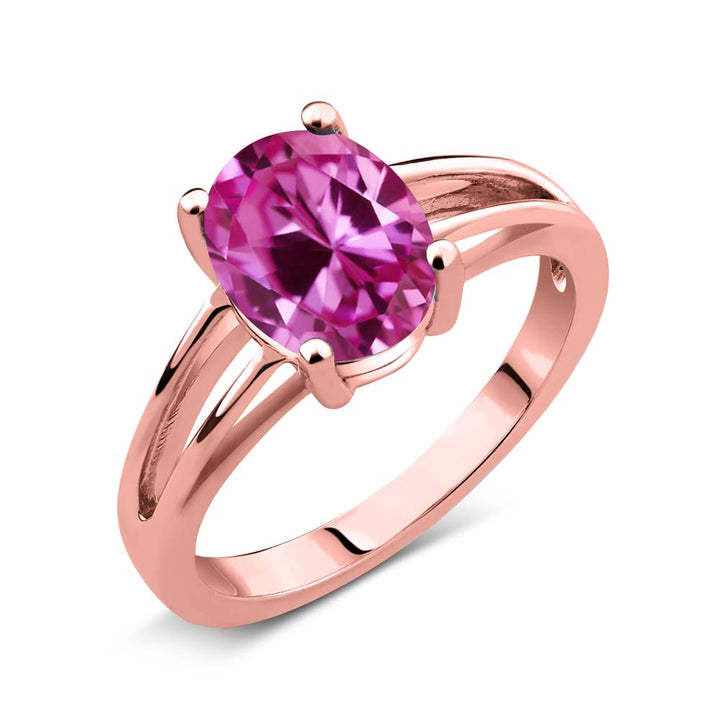 Gem Stone King 2.40 Ct Oval Pink Created Sapphire 18K Rose Gold Plated Silver Solitaire Ring