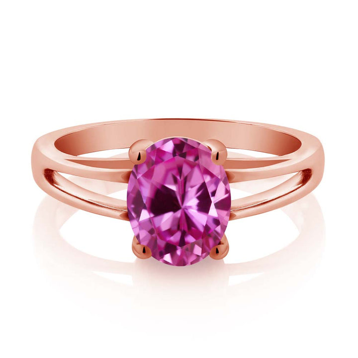 2.40 Ct Oval Pink Created Sapphire 18K Rose Gold Plated Silver Solitaire Ring
