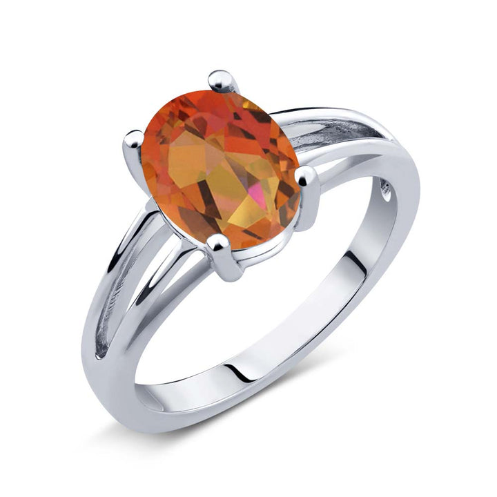 Gem Stone King 1.80 Ct Oval Twilight Orange Mystic Quartz 925 Sterling Silver Solitaire Ring