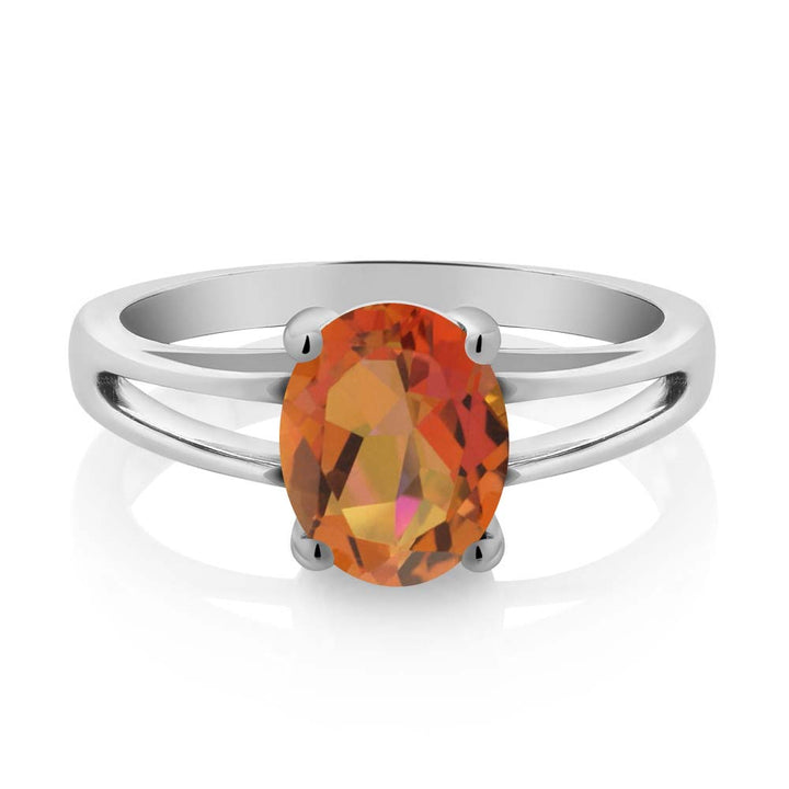 1.80 Ct Oval Twilight Orange Mystic Quartz 925 Sterling Silver Solitaire Ring