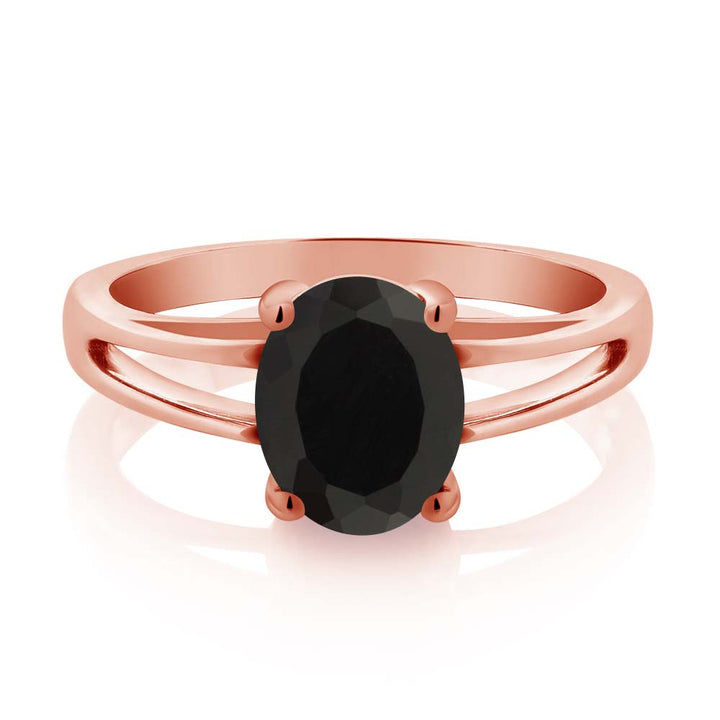 2.00 Ct Oval Black Onyx 18K Rose Gold Plated Silver Solitaire Ring