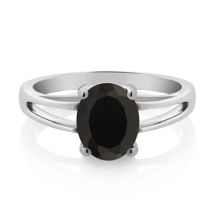 2.00 Ct Oval Black Onyx 925 Sterling Silver Solitaire Ring
