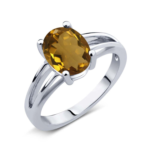 1.40 Ct Oval Whiskey Quartz 925 Sterling Silver Solitaire Ring