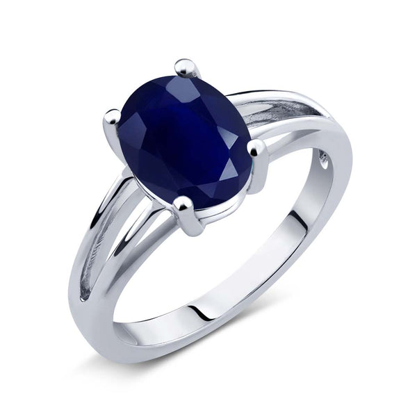 2.50 Ct Oval Blue Sapphire 925 Sterling Silver Solitaire Ring