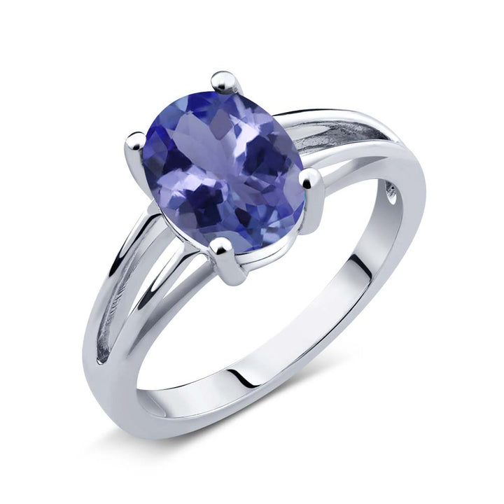 Gem Stone King 1.60 Ct Oval Blue Tanzanite AAAA 925 Sterling Silver Solitaire Ring