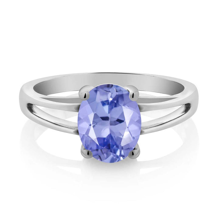 1.60 Ct Oval Blue Tanzanite AAAA 925 Sterling Silver Solitaire Ring