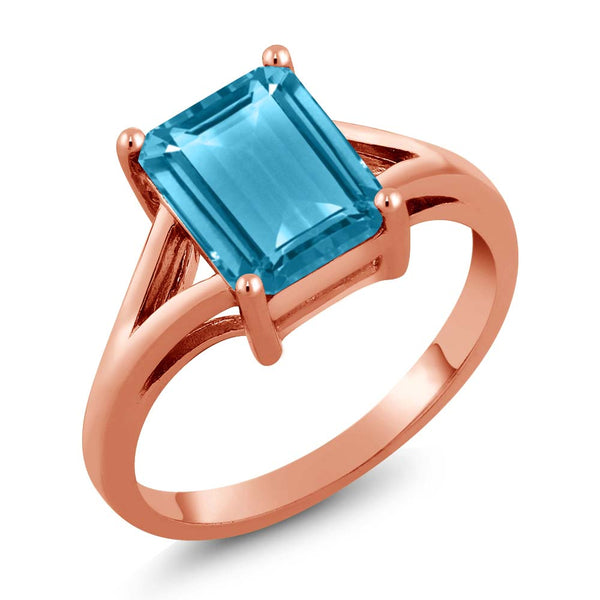 Gem Stone King 3.20 Ct Octagon Swiss Blue Topaz 925 Rose Gold Plated Silver Ring