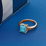 3.20 Ct Octagon Swiss Blue Topaz 925 Rose Gold Plated Silver Ring
