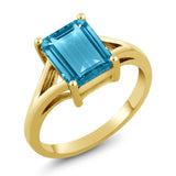 Gem Stone King 3.20 Ct Octagon Swiss Blue Topaz 925 Yellow Gold Plated Silver Ring
