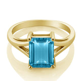3.20 Ct Octagon Swiss Blue Topaz 925 Yellow Gold Plated Silver Ring