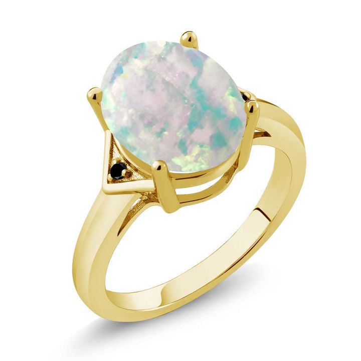 Gem Stone King 4.01 Ct Oval Cabochon White Simulated Opal Black Diamond 18K Yellow Gold Plated Silver Ring