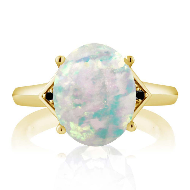 4.01 Ct White Simulated Opal Black Diamond 18K Yellow Gold Plated Silver Ring
