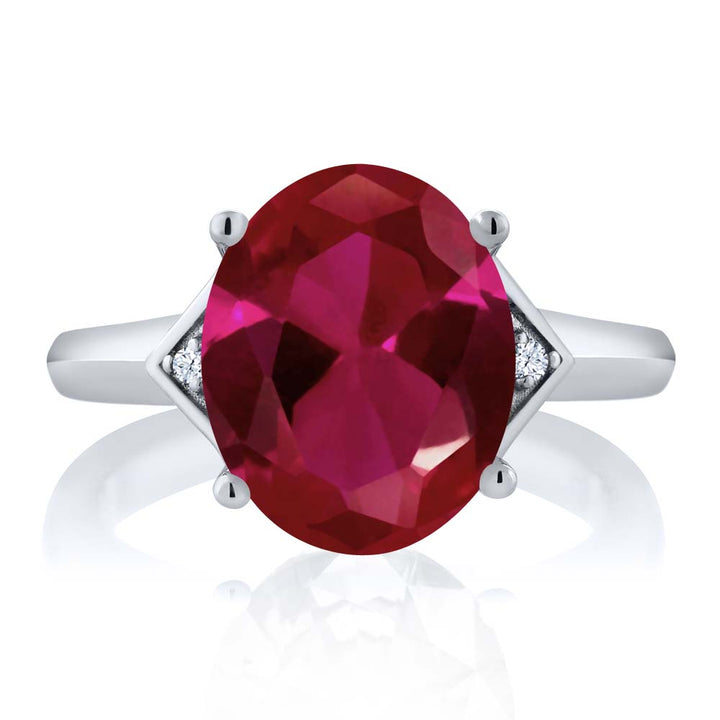 5.02 Ct Oval Red Created Ruby White Created Sapphire 925 Sterling Silver Ring