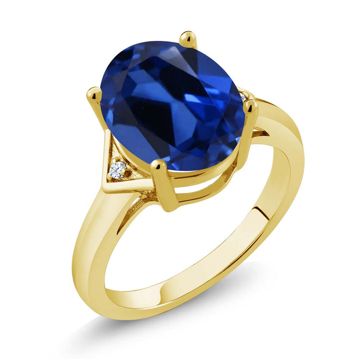 Gem Stone King 6.15 Ct Blue Simulated Sapphire White Topaz 18K Yellow Gold Plated Silver Ring
