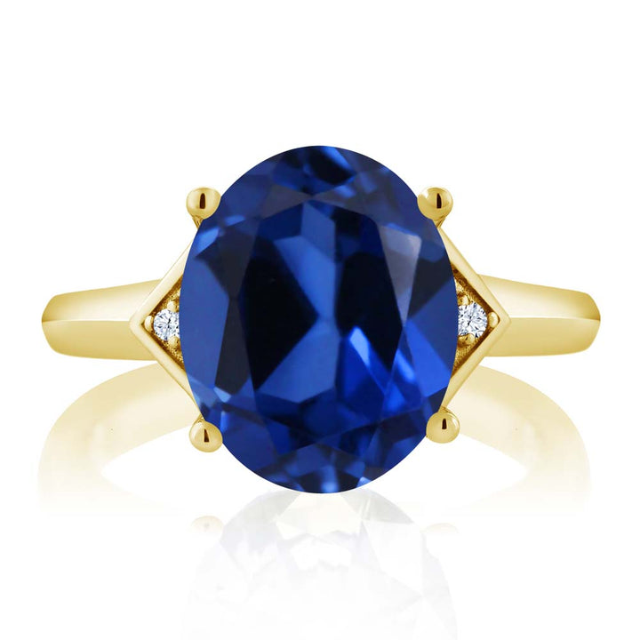 6.15 Ct Blue Simulated Sapphire White Topaz 18K Yellow Gold Plated Silver Ring
