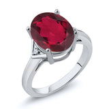 Gem Stone King 4.02 Ct Oval Red Mystic Quartz White Topaz 925 Sterling Silver Ring