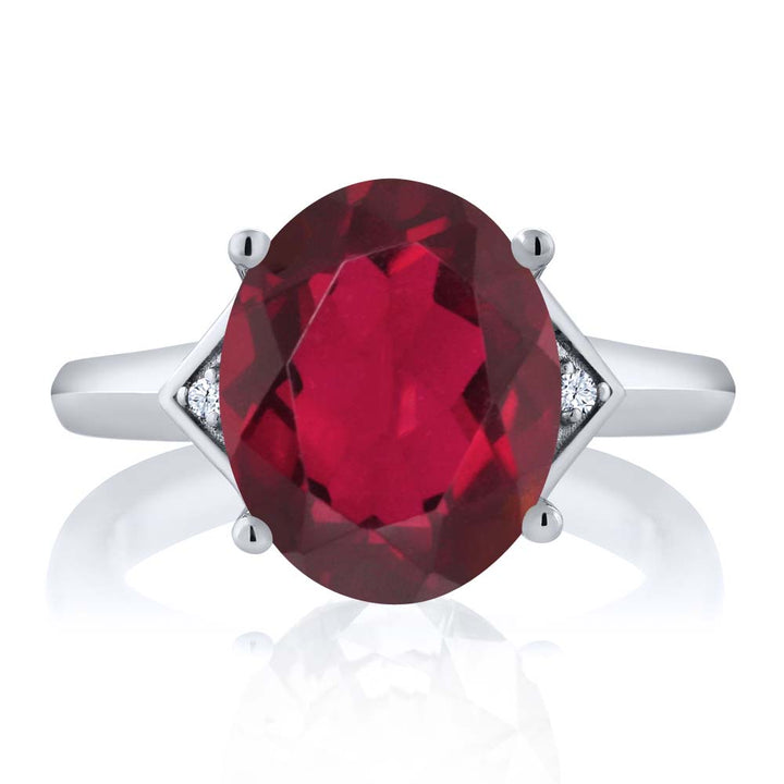 4.02 Ct Oval Red Mystic Quartz White Topaz 925 Sterling Silver Ring