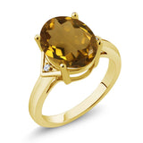Gem Stone King 4.02 Ct Oval Whiskey Quartz White Topaz 18K Yellow Gold Plated Silver Ring