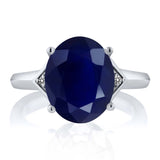 5.01 Ct Oval Blue Sapphire White Diamond 925 Sterling Silver Ring