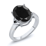 Gem Stone King 4.41 Ct Oval Black Sapphire Black Diamond 925 Sterling Silver Ring