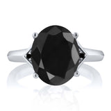 4.41 Ct Oval Black Sapphire Black Diamond 925 Sterling Silver Ring