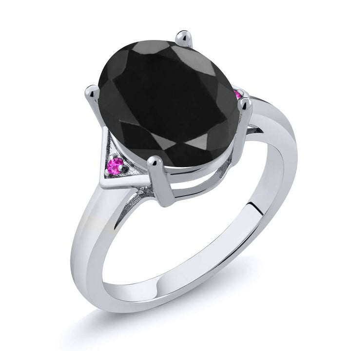 Gem Stone King 4.42 Ct Oval Black Sapphire Pink Sapphire 925 Sterling Silver Ring