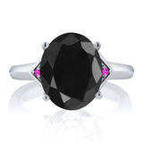 4.42 Ct Oval Black Sapphire Pink Sapphire 925 Sterling Silver Ring