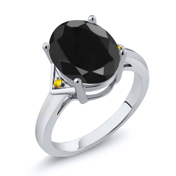 Gem Stone King 4.42 Ct Oval Black Sapphire Yellow Sapphire 925 Sterling Silver Ring