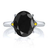 4.42 Ct Oval Black Sapphire Yellow Sapphire 925 Sterling Silver Ring