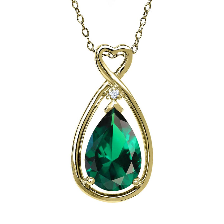 Gem Stone King 2.45 Ct Pear Shape Green Simulated Emerald 18K Yellow Gold Plated Silver Pendant