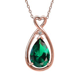 Gem Stone King 2.45 Ct Green Simulated Emerald White Diamond 18K Rose Gold Plated Silver Pendant