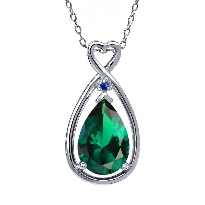Gem Stone King 2.45 Ct Pear Shape Green Simulated Emerald Blue Sapphire 925 Sterling Silver Pendant