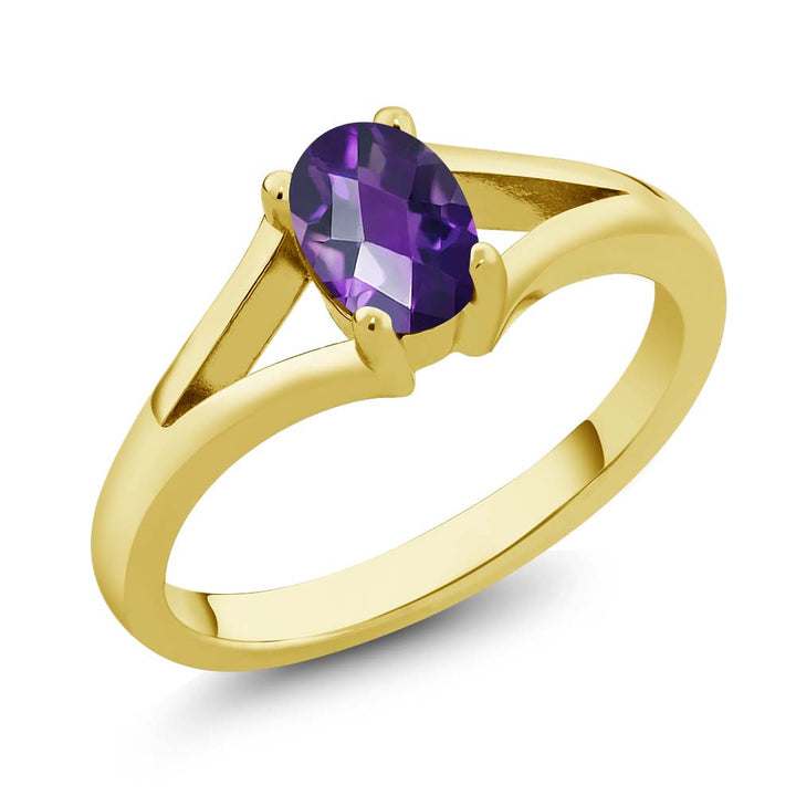Gem Stone King 0.75 Ct Oval Checkerboard Purple Amethyst 18K Yellow Gold Plated Silver Solitaire Ring