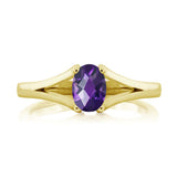 0.75 Ct Oval Checkerboard Purple Amethyst 18K Yellow Gold Plated Silver Ring