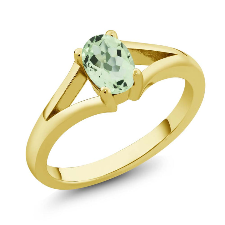 Gem Stone King 0.75 Ct Oval Green Prasiolite 18K Yellow Gold Plated Silver Solitaire Ring