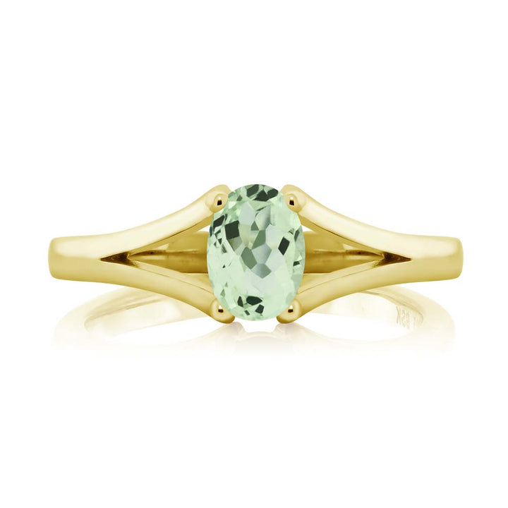 0.75 Ct Oval Green Prasiolite 18K Yellow Gold Plated Silver Ring