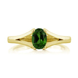 0.80 Ct Oval Green Chrome Diopside 18K Yellow Gold Plated Silver Ring