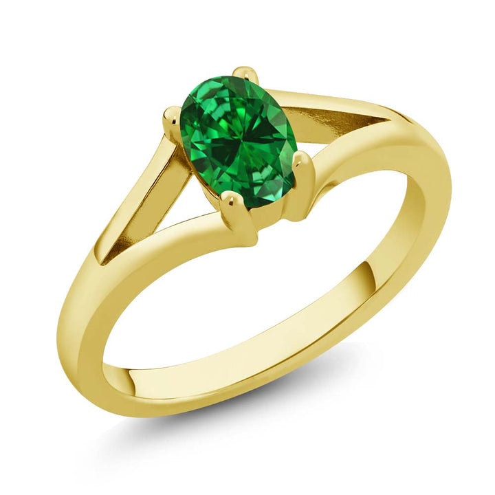Gem Stone King 0.60 Ct Oval Green Simulated Emerald 18K Yellow Gold Plated Silver Solitaire Ring