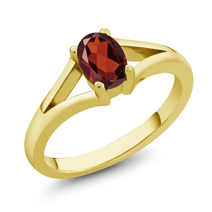 Gem Stone King 0.90 Ct Oval Red Garnet Yellow Gold Plated Silver Solitaire Ring
