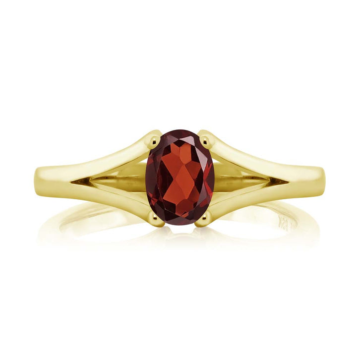 0.90 Ct Oval Red Garnet Yellow Gold Plated Silver Ring