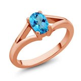 Gem Stone King 0.80 Ct Oval American Blue Mystic Topaz 18K Rose Gold Plated Silver Ring