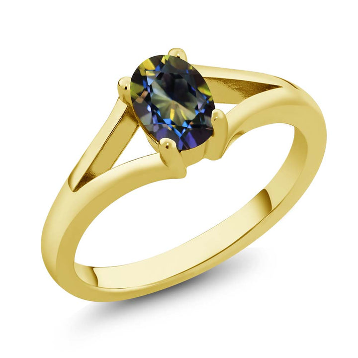 Gem Stone King 0.80 Ct Oval Blue Mystic Topaz 18K Yellow Gold Plated Silver Solitaire Ring