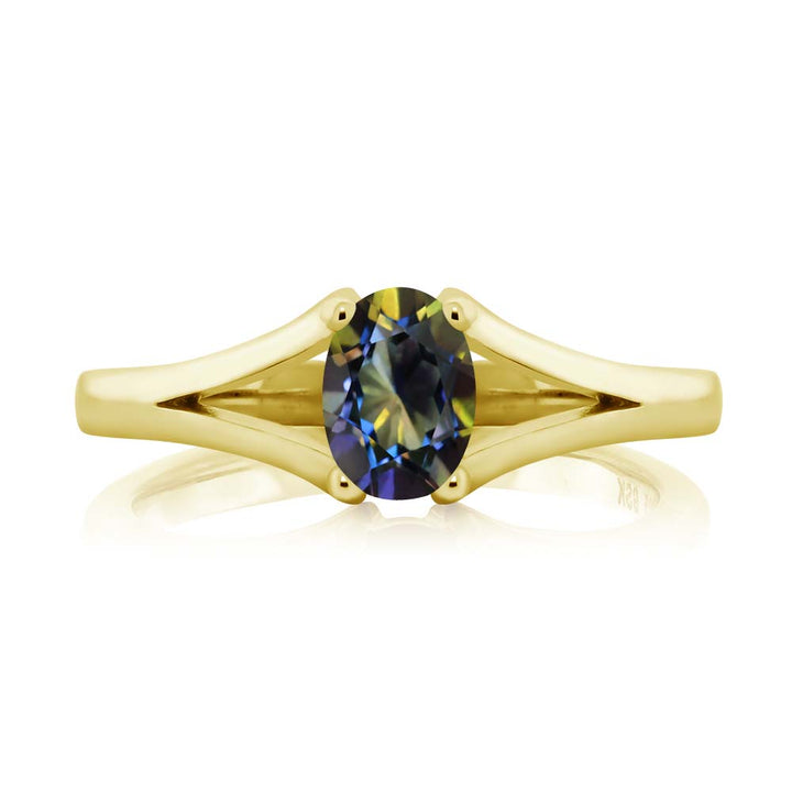 0.80 Ct Oval Blue Mystic Topaz 18K Yellow Gold Plated Silver Ring