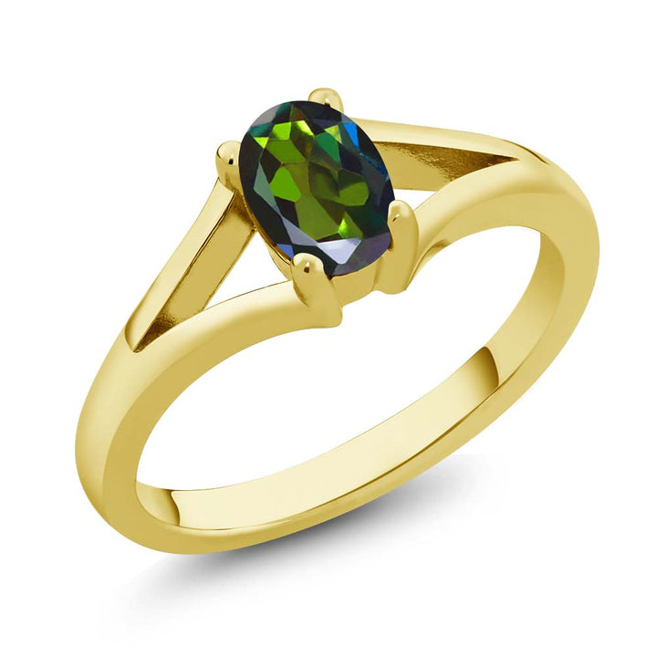 Gem Stone King 0.80 Ct Oval Forest Green Mystic Topaz 18K Yellow Gold Plated Silver Solitaire Ring