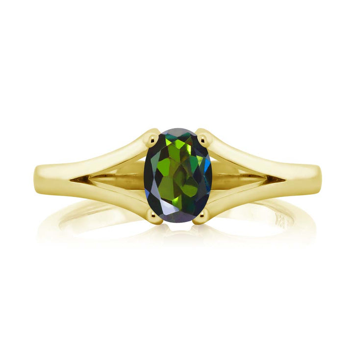 0.80 Ct Oval Forest Green Mystic Topaz 18K Yellow Gold Plated Silver Ring